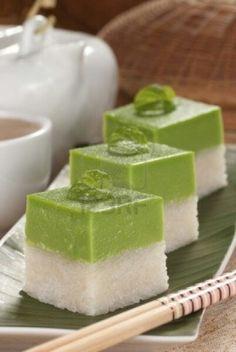 Ketan Srikaya. Indonesian gloutinous rice cake with pandan kaya jam.