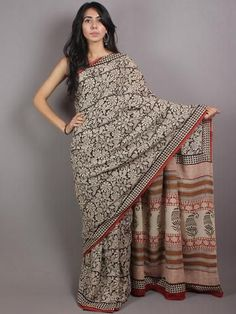 Beige Red Black Brown Cotton Hand Block Printed Saree in Natural Colors - S03170676