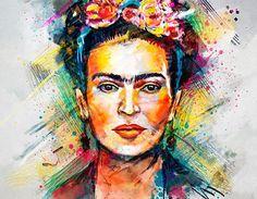 Frida Kahlo Digital Portrait by Tracie Andrews Diego Rivera, Frida E Diego, Frida Art, Aquarell Tattoo, Wall Art Prints, Canvas Prints, Canvas Art, Monalisa, Digital Portrait
