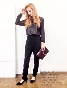 TOPS:3.1 phillip lim PANTS:AULA AILA SHOES:Cole Haan BAG:Yves Saint Laurent yves saint laurent 3.1 p...