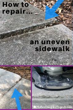 repair concrete sidewalk uneven sidewalks how to fix Cement Patio, Concrete Steps, Concrete Driveways, Concrete Projects, Concrete Floors, Concrete Porch, Diy Projects, Diy Concrete, Sidewalk Repair