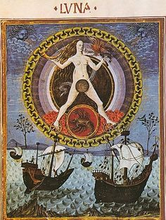 The Moon rules Scorpio from De Sphaera Estense, which today is considered the most beautifully decorated astrology book of the Renaissance. Manuscript, ca.1450-60, it was executed around 1470. Parchment, 32 pp., 24.5 × 16.4 cm. Possible patron was Francesco Sforza, Duke of Milan, and his wife Bianca Maria Visconti