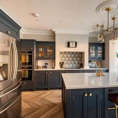 Home Decor Kitchen .Home Decor Kitchen Wood Kitchen Cabinets, Kitchen Cabinet Colors, Kitchen Layout, Kitchen Flooring, Kitchen Design, Blue Cabinets, Cupboards, Home Decor Kitchen, Kitchen Interior