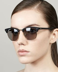 Ray-Ban Polarized Matte Clubmaster Sunglasses