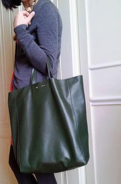 celine bags cabas lambskin green best