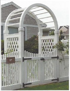 6 ft Wide Custom Arbor and Gate from Walpole Outdoors. Browse our large selection of wood, solid cellular PVC and vinyl driveway, estate and walkway gates. Garden Trellis, Garden Gates, Walpole Outdoors, Vinyl Gates, Wood Arbor, Privacy Fence Designs, Fence Gate, Fencing, Pergola Shade