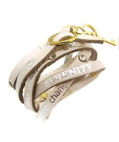 Serenity Prayer Leather Wrap Bracelet Ivory by LemonberryStudios, $22.00 - I REALLLLY want this!