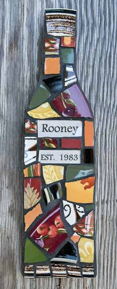 Personalized Mosaic Wine Bottle Wall Art with by PeaceByPieceCo