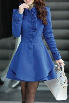 Stylish Stand-Up Collar Long Sleeve Solid Color Flounced Coat For Women