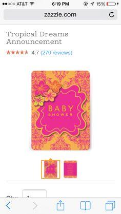 orange and pink flower baby shower invitations
