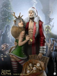 Legend of the Cryptids - Applibot Santa Claus - 1 Zombie Christmas, Christmas Time, Dancing Santa, Pin Up, Wolf, Fantasy Male, Digital Portrait, Fantasy Characters, Dungeons And Dragons