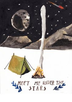 Meet Me Under The Stars Greetings Card by DickVincent on Etsy