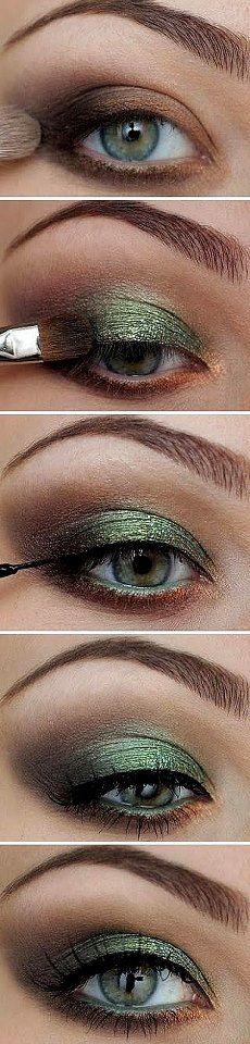 Eye Makeup - Maquillage yeux ombré bronze et vert - Health & Beauty, Makeup, Eyes Eyeshadow Step By Step, Makeup Step By Step, Green Eyeshadow, Makeup For Green Eyes, Eye Makeup Steps, Beauty Make-up, Beauty Ideas, Hair Beauty, Skin Makeup