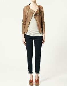 Leather Moto jacket - great for any age and hot this fall. Love the light color instead of black