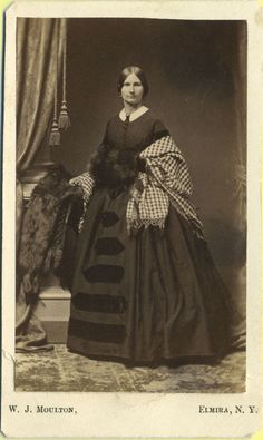 Civil War Era CDV Photo, Elmira NY Woman Wearing Elegant Large Dress, EXC