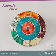 Color y misterio en este escudo que te protege del aburrimiento.   INKAIKO'S Inca, Weird Creatures, Bmw Logo, Chart, Logos, Places, Enamels, Diy Kid Jewelry, Bracelets