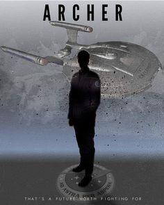 """Star Trek Starfleet Captains Jonathan Archer artwork by artist """"Rykker Part of… Star Trek Enterprise, Star Trek Voyager, Star Trek Poster, Deep Space Nine, Star Trek Tv Series, Star Trek Reboot, Star Trek Captains, Einstein, Star Trek Characters"""
