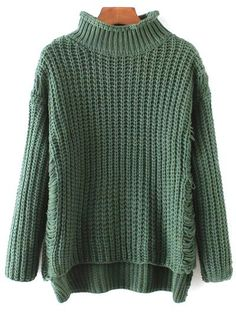 Turtleneck Ripped Chunky Jumper - GREEN ONE SIZE