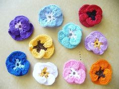 Crocheted Pansy Applique, Embellishment, Magnet, Pin, Earrings - Your Choice of Colors Crochet Flower Tutorial, Crochet Flowers, Fake Cupcakes, Flower Food, Bottle Cover, Yarn Needle, Crafts To Do, Pansies, Crochet Patterns