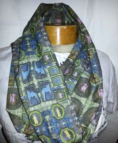 Infinity Scarf Printed Fluffy Cotton designer by MariposaTextiles, $50.00