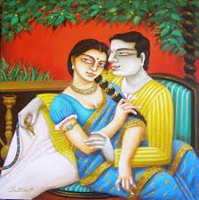 Artist Gautam Mukherjee's Babu and Bibi II Painting Online. Blue-Green acrylic Painting by Gautam Mukherjee on Canvas, Figurative based on theme Gautam Mukherjii. Indian Artwork, Indian Paintings, Couple Painting, Figure Painting, Modern Art, Contemporary Art, Art Shed, India Art, Indian Artist