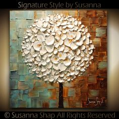 ORIGINAL White Blossoms Lollipop Tree Abstract Contemporary Oil Painting Thick Texture Gallery Fine Art by Susanna Ready to Hang 24x24. $325.00, via Etsy.