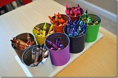 Crayon Storage For the school room. I like the color organza tigon for the little ones. Also it would be nice to be able to keep these out and low so they were available, but their responsibility to clean up. Might draw on the walls though...