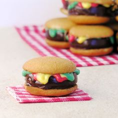 Hamburger Cookies   These cute little burgers are a fun April Fools treat.  They look like a little burger, but they taste like a yummy peppermint cookie!