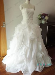 Gorgeous draped whirl organza ball gown wedding dress