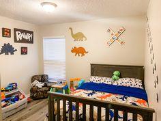 Toddler Boy Room Decor, Toddler Rooms, Boys Room Decor, Boys Dinosaur Bedroom, Dinosaur Room Decor, Little Boy Bedroom Ideas, Kids Bedroom, Toddler Room Organization, Playroom