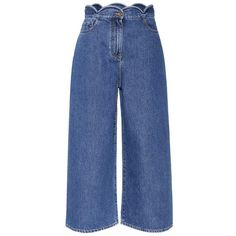 Valentino Denim Culottes (14.192.905 IDR) ❤ liked on Polyvore featuring pants, capris, jeans, blue, denim trousers, blue denim pants, valentino pants, denim pants and blue trousers
