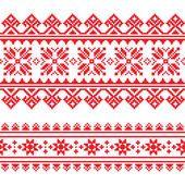 Patrón de bordado rojo punto folk tradicional de Ucrania — Vector de stock