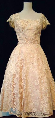 Vintage 1950's tea length cocktail dress- .beige lace