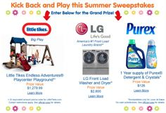 "Little Tikes ""Kick Back and Play this Summer"" Sweepstakes – Win an Endless Adventures Playground LOVE WASHER and DRYER plus More SWEEEPS from Purex, GE and Little Tikes! 48 Contiguous United States and the District of Columbia who are at least 18 years old at the time of entry. ENTER Daily!!!! Ends June 30th, 2013 11:59pm"