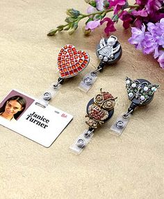 Display your badge in style with this Jeweled Retractable ID Badge Holder. Each is adorned with glass crystals. The Angel choice also features plastic pearls. A