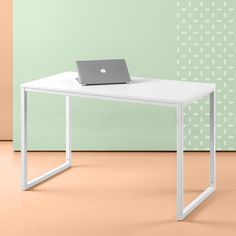 Zinus Soho Rectangular Table Only, Office Desk, Computer Table, 47 Inch Vanilla, White Bedroom Workspace, Modern Office Desk, Office Desks, Contemporary Desk, Multipurpose Room, Thing 1, White Desks, Wood Desk, Writing Desk