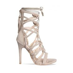Casey Nude Suede Rope Lace Up Heels : Simmi Shoes (165 MXN) ❤ liked on Polyvore featuring shoes, sandals, laced sandals, heeled sandals, nude suede shoes, roper shoes and nude shoes