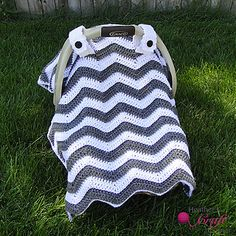 Often called a car seat cover or car seat tent, this canopy is stunningly cute, trendy, and fun to work up. Gotta love chevrons!