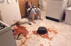 No, it isn't a crime scene. It's a spaghetti on the floor. So in a way... it's even worse