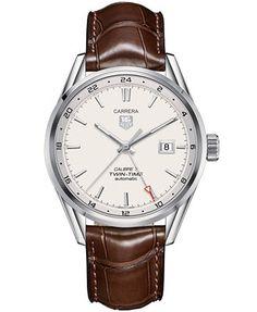 For pat's 30th, 1 year to save!! $3300 TAG Heuer Men's Swiss Automatic Carrera Calibre 7 Twin-Time Brown Leather Strap Watch 41mm WAR2011.FC6291