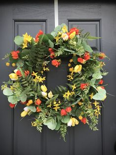 Spring Wreaths Spring Door Wreaths Orange Yellow White Wreath Fern Wreath Gift for Her Spring Door Decor Mothers Day Gift Orange Flowers