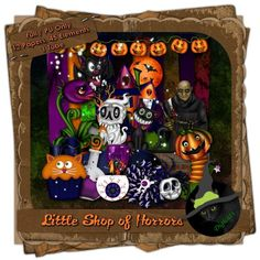 """Halloween themed digital taggers scrap composed of 12 (3600 x 3600 pixel, .jpg) papers and 45 .png elements, plus on """"Fantastic Freek"""" tube by Angelica S. Art. 300 DPI.  Personal use only."""
