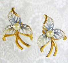 Vintage Flower Earrings, Blue White Enamel, Pearl, Gold Openwork, Screw-backs, 1940s Retro WWII, Romantic Floral Wedding Bridal Jewelry by AVintageJewelryChest, $14.00