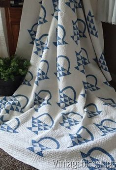 At Auction Now: GORGEOUS! Antique c1880 BLUE & White BASKET QUILT Densely Quilted CLASSIC www.Vintageblessings.com
