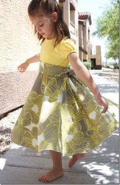 Twirly dress from a T-Shirt & fabric of choice. Photo Tutorial! little girls, dress tutorials, photo tutorial, circle skirts, tee shirts, twir dress, t shirts, flower girls, sewing tutorials
