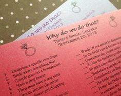 Bridal Shower Game, Why Do We Do That, Simple and Affordable Shower Game, Wedding Rings - Set of 10