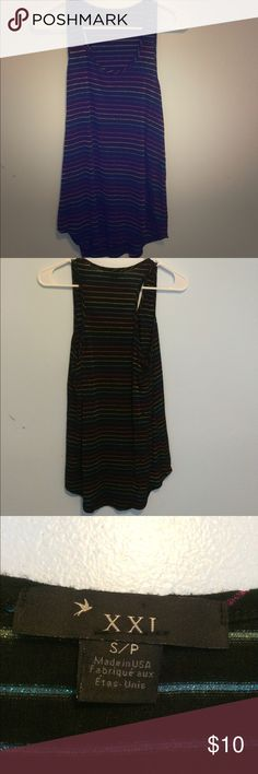 Striped tank top Really pretty metallic color in the stripes, it's stretchy and comfortable. Good condition. Forever 21 Tops Tank Tops