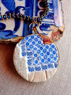 Portugal antike Azulejo-Fliesen Restaurierung Replica Halskette - von Porto - Igreja Sao Nicolau 1671