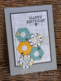 Stampin Up hexagon punch nut card. Father's Day - masculine card. By Di Barnes colourmehappy