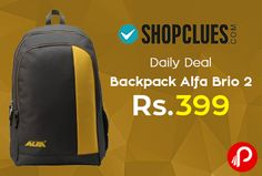 Shopclues #DailyDeal is offering Alfa Brio 2 Compartment Backpack at Rs.399. Non laptop spacious backpack with 2 compartments, reinforced straps and one side mesh. Shopclues Coupon Code – SC01OV  http://www.paisebachaoindia.com/backpack-alfa-brio-2-at-rs-399-daily-deal-shopclues/